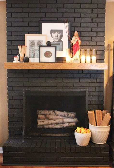 the gallery for gt black painted brick fireplace