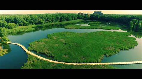 wood lake nature center richfield mn aerial drone view