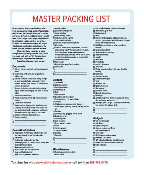 packing list template jsdhgtg templates best free