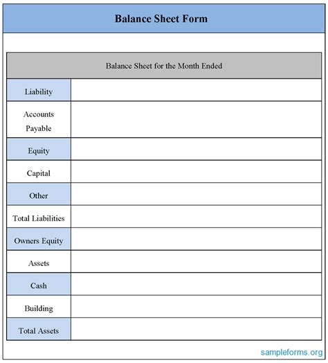 free balance sheet template best photos of basic balance sheet form free blank