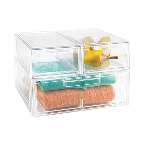 Clear Storage Drawers Stackable by Clear Stackable Shirt Accessory Drawer The Container Store