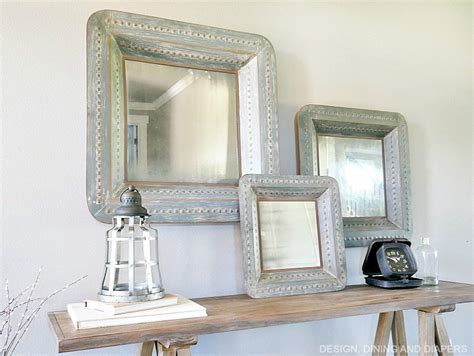 mirror over console sawhorse console entry way display taryn whiteaker