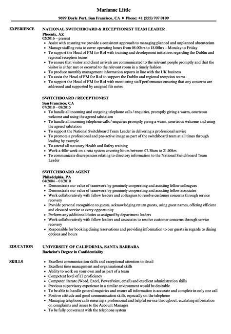 Hotel Switchboard Operator Sle Resume by Hotel Switchboard Operator Sle Resume Word For Mac Resume Template