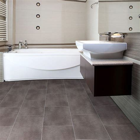 Bathroom Vinyl Flooring Ideas Big Grey Tiles Flooring For Small Bathroom With Awesome White Bathtub And Astounding