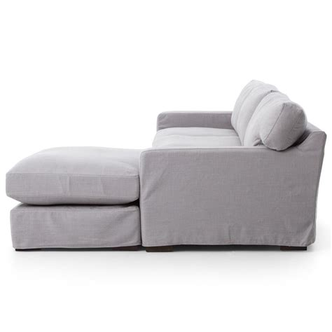 Grey Linen Sectional Sofa by Modern Classic Pewter Grey Linen Sectional Sofa