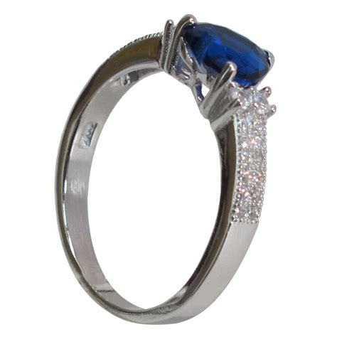pretty 2 ct sapphire 925 sterling silver ring size 5 10 ebay
