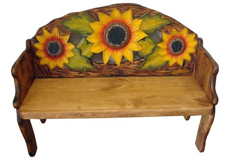 mexican painted chairs sunflower painted solid wood rustic bench tres amigos