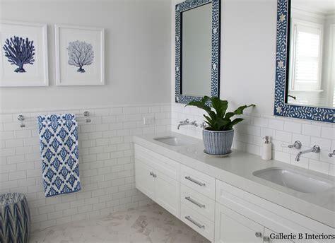 classic hamptons style blue  white bathroom  bone