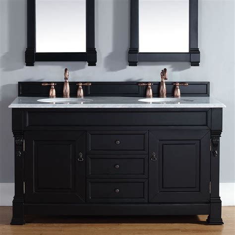 Bathrooms With Black Vanities Martin Furniture Brookfield 60 Quot Antique Black Bathroom Vanity Set With Drawers