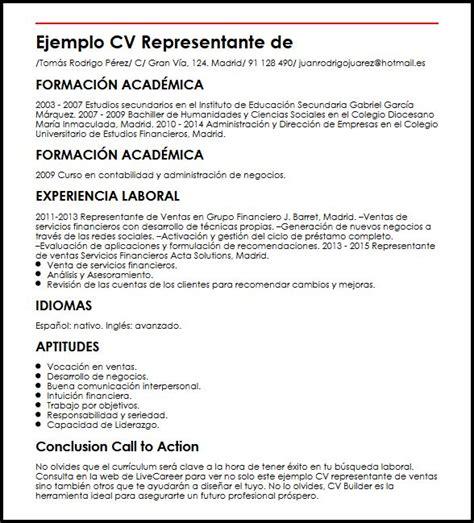Modelo Curriculum Vitae Ventas Ejemplo Cv Representante De Ventas Micvideal