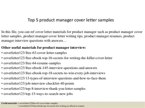 Product Manager Cover Letter Top 5 Product Manager Cover Letter Sles