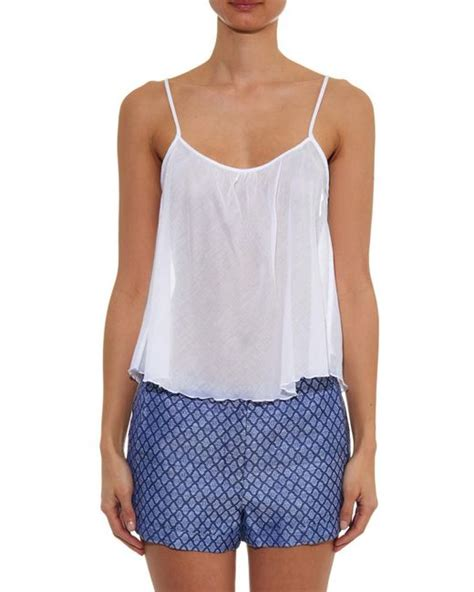 White Cotton Cami loup charmant airy lightweight cotton cami top in white lyst