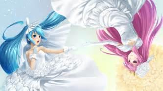 Anime brides hatsune miku megurine luka widescreen wallpaper wide