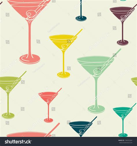 vintage martini illustration vintage seamless pattern martini glass silhouettes stock