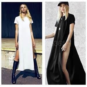 casual side high slits tee women long top t shirt
