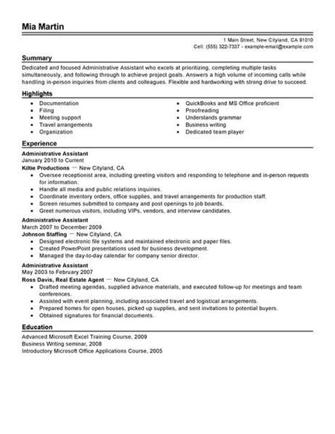 administrative assistant resume exle free admin sle resumes livecareer modern cv