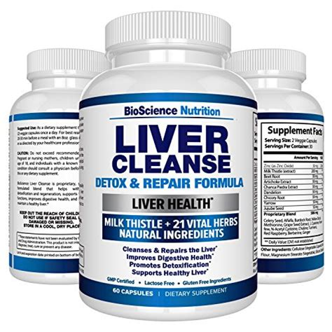 Liver Detox Milk Thistle Dandelion Turmeric by Liver Cleanse Supplement 22 Herbs Support Detox Milk