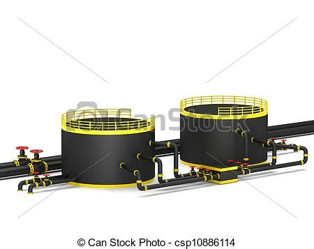 black oil storage tank and pipeline on a white background.