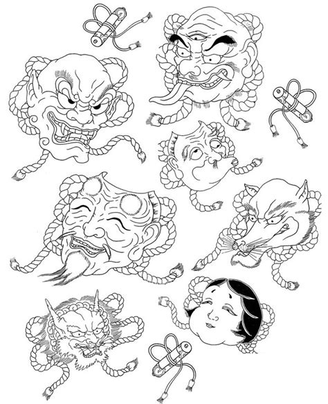 Adult coloring page japan : Japanese masks 8