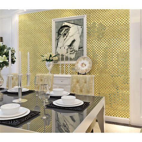 Gold Mirror Glass Diamond Crystal Tile Patterns Square Mirrored Bathroom Tiles