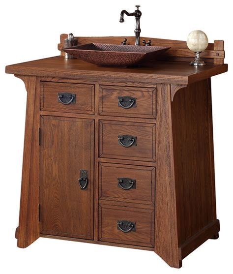 Craftsman Bathroom Vanity Martin Pasadena 36 Quot Antique Oak Single Vanity With Wood Top Craftsman Bathroom