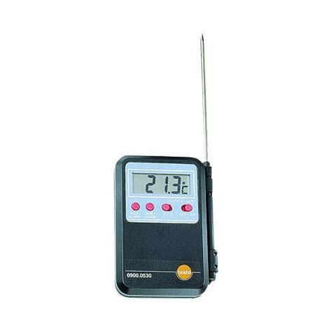 Thermometer Testo testo 0900 0530 mini alarm thermometer with connected probe at the test equipment depot