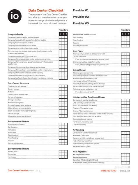 stron biz data center checklist template