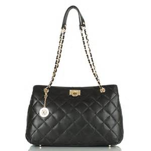 dkny black r3414009 quilted leather s tote bag at rojo