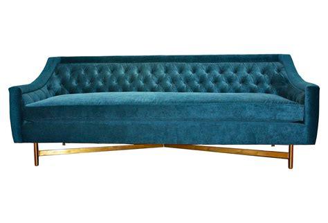 Kim Salmela Coco 93 Quot Tufted Velvet Sofa From One Kings Lane Turquoise Velvet Sofa
