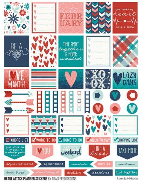 erin condren life planner free printable stickers heart attack by traci reed free planner stickers