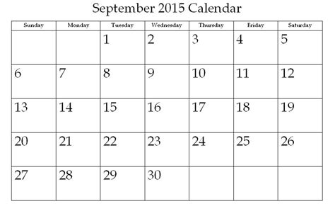 Blank Calendar For September 2015 Image Gallery Blank September 2015