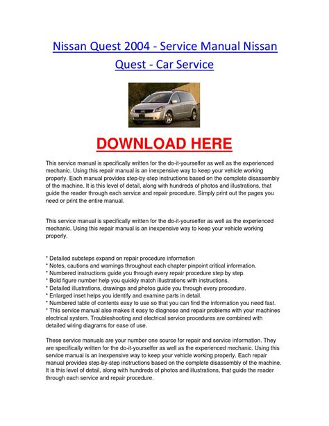 vehicle repair manual 2004 nissan quest electronic throttle control nissan quest 2004 service manual nissan quest car service by nissancarrepair issuu