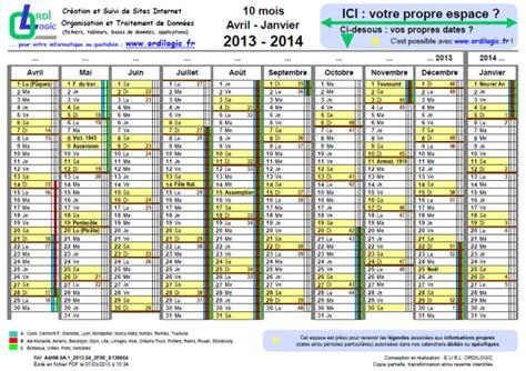Calendrier Avril 2014 Ordilogic Fr Calendrier 10 Mois Avril Janvier 2013 2014