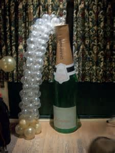 Champagne bottle balloon bubbles for Mom Dad's Golden