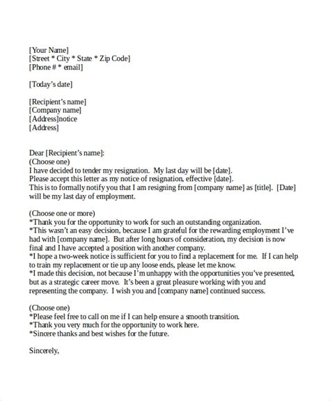 10 two weeks notice letter exles free premium templates