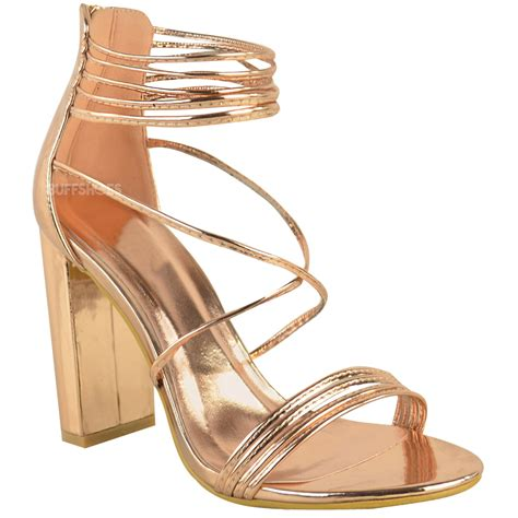 High Heel Peep Toe Sandals womens strappy block high heel peep toe chunky