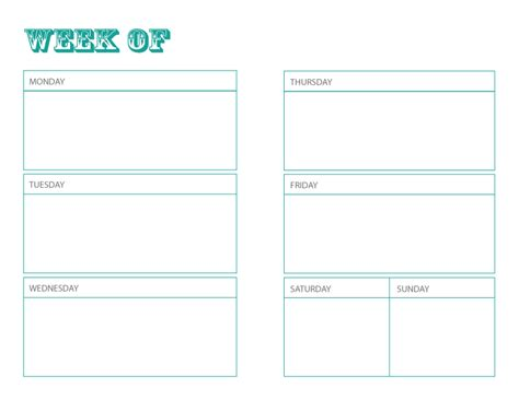 Galerry free printable weekly planner sheets
