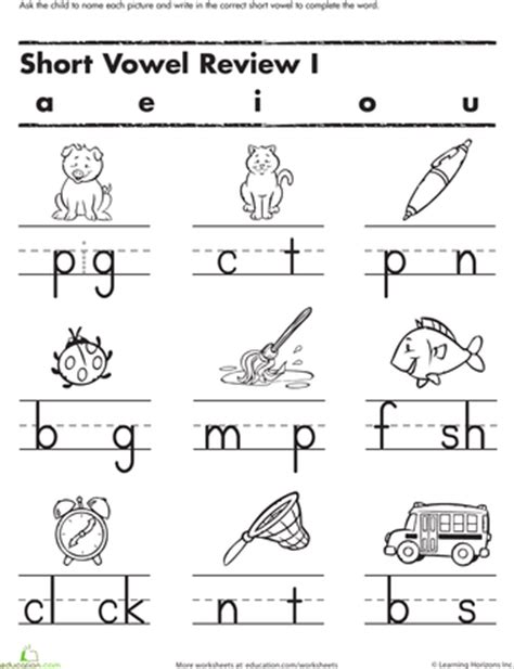Printable Vowel Letters | fill in the short vowel short vowels worksheets and shorts