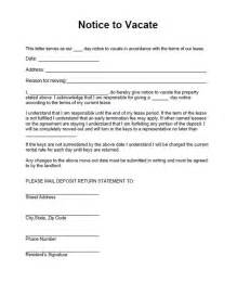 Lease Agreement Notice Period Printable Sle Vacate Notice Form Laywers Template Forms