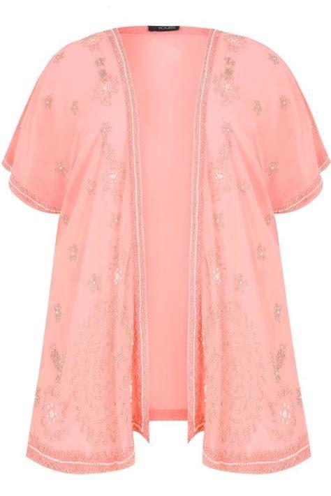 blouse szt 18940 limited pink bead embellished chiffon sheer kimono cover up plus