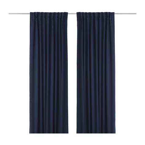 werna curtains ikea werna curtains drapes 2 panels dark blue block out 118 quot
