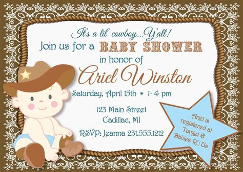 Baby Cowboy Baby Shower by Lil Cowboy Baby Shower Invitation Sbgb90