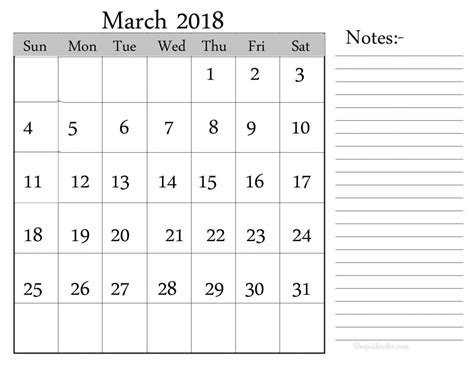 calendar notes template march 2018 calendar with notes printable template