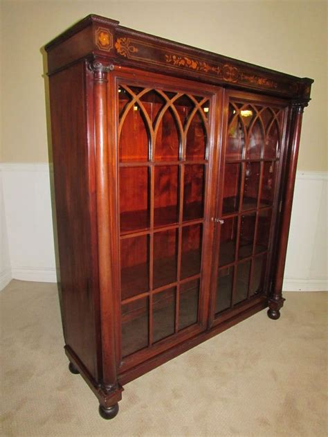 antique bookcases with glass doors antique bookcase locking glass doors inlaid