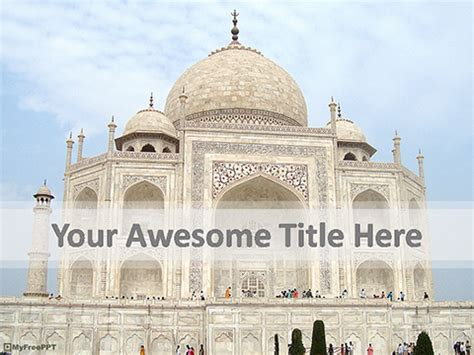 Free Tourism Powerpoint Templates Myfreeppt Com Ppt On Taj Mahal