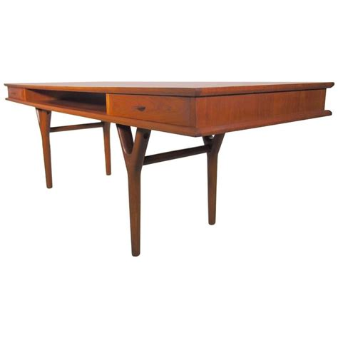 rectangular teak coffee table with drawers at 1stdibs