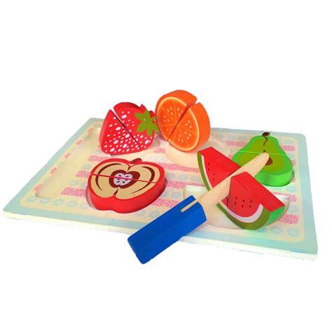Mainan Kayu Potong puzzle chunky buah potong mainan kayu