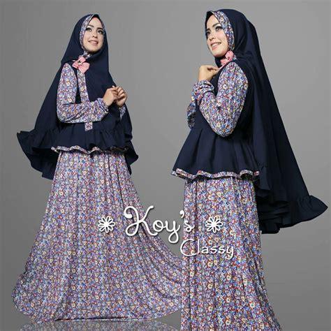 Dres Muslimah Model Ruby Dress Soft Blue Terlaris classyy dongker baju muslim gamis modern