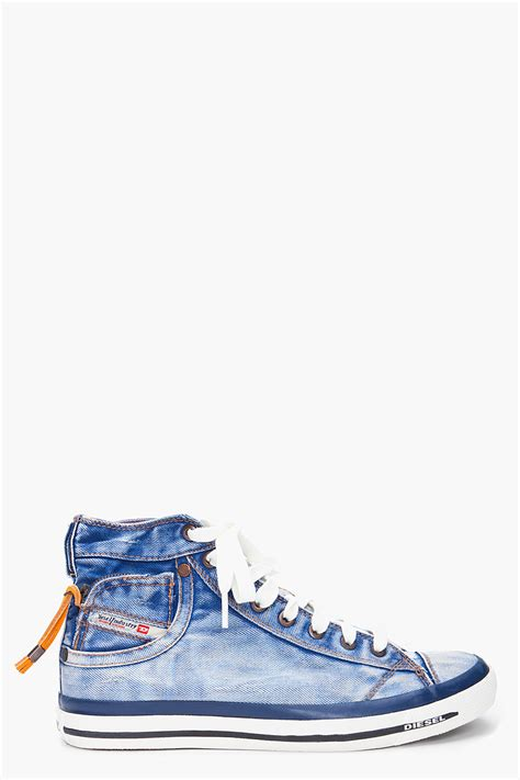 Sneakers Denim diesel high denim expoiak sneakers in blue for lyst