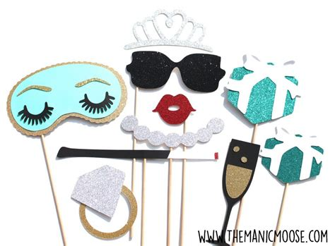 breakfast at tiffany s party photo booth prop by hummingb8rd bridal shower photo booth prop set 10 piece set birthdays
